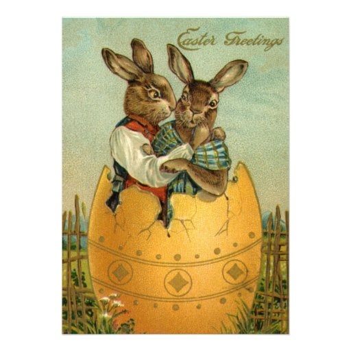 Vintage Easter Greetings, Bunnies in an Egg Personalized Invitation