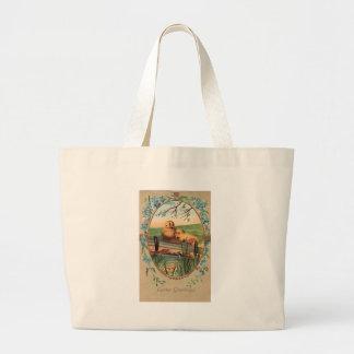 Vintage - Easter Greetings - Little Chicks Jumbo Tote Bag