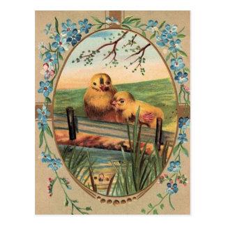 Vintage - Easter Greetings - Little Chicks Postcard