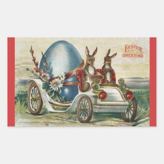Vintage Easter Greetings Rabbits Antique Car Egg Rectangular Sticker