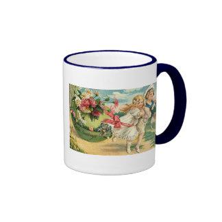 Vintage Easter Greetings Ringer Mug
