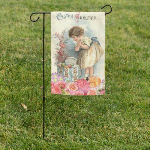 Vintage Easter Greetings Spring Girl Eggs Garden Flag