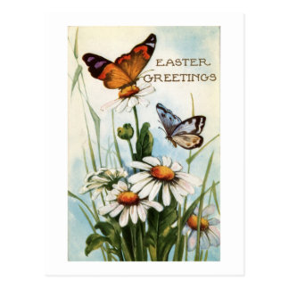 Vintage Easter Greetings With Butterflies Floral Post Card