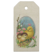 Vintage Easter Greetings Yellow Baby chicks Flower Wooden Gift Tags