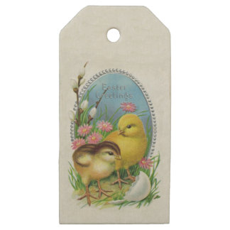 Easter egg gift tags zazzle vintage easter greetings yellow baby chicks flower wooden gift tags negle Images
