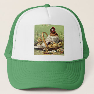 Vintage Easter Hen and Chicks in Basket Trucker Hat