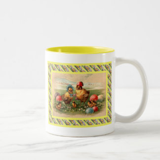 Vintage Easter, Hen and eggs Two-Tone Coffee Mug