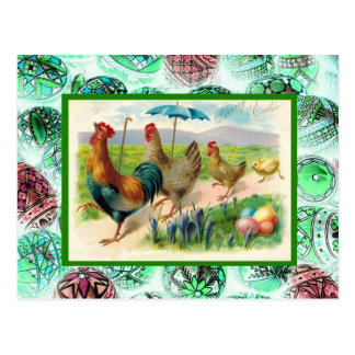 Vintage Easter, Hens and eggs Postcard
