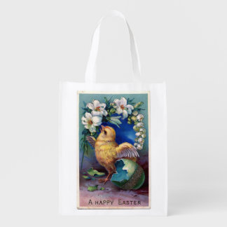 Vintage Easter Illustration Reusable Grocery Bag
