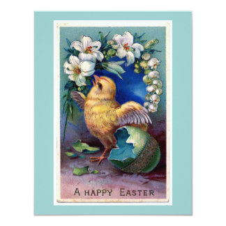 Vintage Easter Illustration With Chick Card