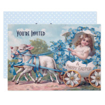 Vintage Easter Illustration with Girl and Lambs Invitation