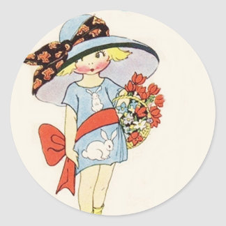 Vintage Easter Image Classic Round Sticker
