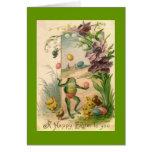 Vintage Easter Juggling Frog Card