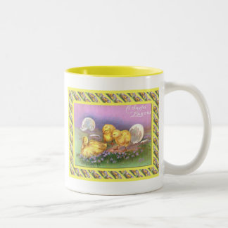 Vintage Easter, Just hatched Two-Tone Coffee Mug
