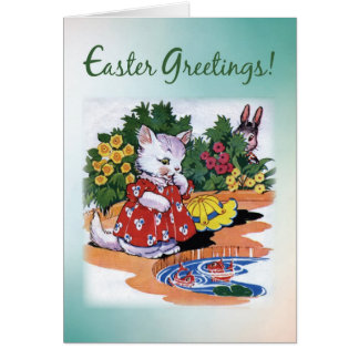 Vintage Easter Kitten Greetings Card