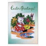 Vintage Easter Kitten Greetings Greeting Card