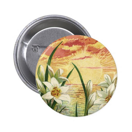 Vintage Easter Lilies and Angels at Sunrise Pin