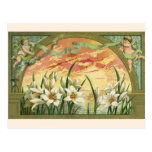 Vintage Easter Lilies and Angels at Sunrise Postcard