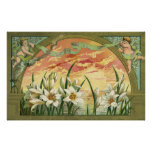Vintage Easter Lilies and Angels at Sunrise Print