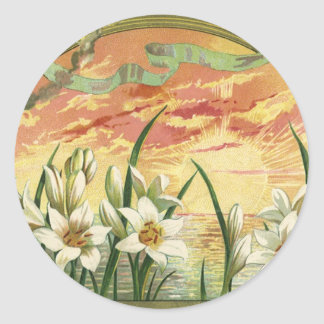 Vintage Easter Lilies and Angels at Sunrise Stickers