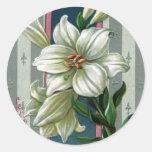 Vintage Easter Lilies Round Sticker