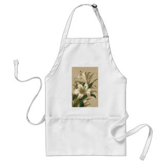 Vintage Easter Lilies, Victorian Flowers in Bloom Adult Apron