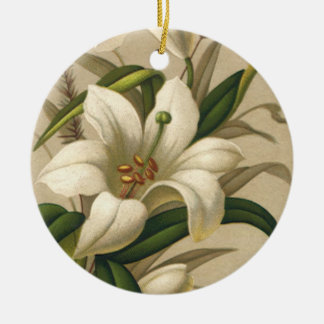Vintage Easter Lilies, Victorian Flowers in Bloom Ceramic Ornament