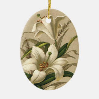 Vintage Easter Lilies, Victorian Flowers in Bloom Ceramic Ornament