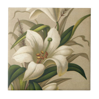 Vintage Easter Lilies, Victorian Flowers in Bloom Ceramic Tile