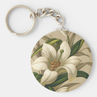 Vintage Easter Lilies, Victorian Flowers in Bloom Keychain