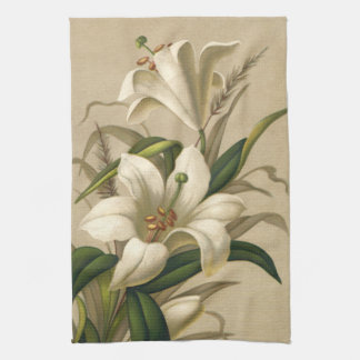 Vintage Easter Lilies, Victorian Flowers in Bloom Kitchen Towel