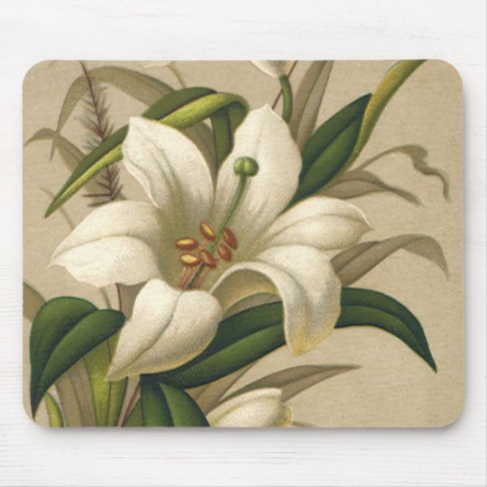 Vintage Easter Lilies, Victorian Flowers in Bloom Mouse Pad
