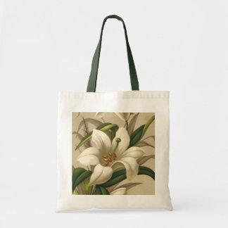 Vintage Easter Lilies, Victorian Flowers in Bloom Tote Bag