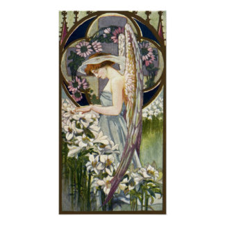 Vintage Easter Lily Flowers and Victorian Angel Poster