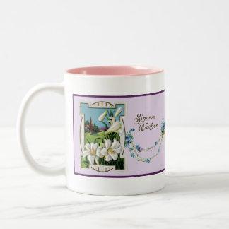 Vintage Easter Lily Vignette Two-Tone Coffee Mug