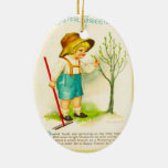 Vintage Easter, New buds in the garden Double-Sided Oval Ceramic Christmas Ornament