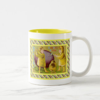 Vintage Easter, Opening an egg Two-Tone Coffee Mug