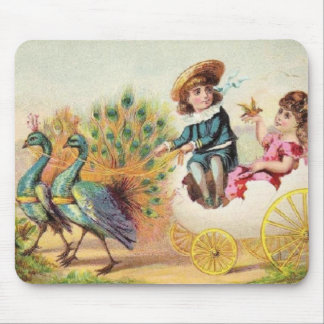 Vintage Easter Peacocks Mouse Pad
