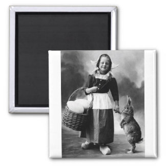Vintage Easter Photo Girl with Big Bunny Rabbit 2 Inch Square Magnet