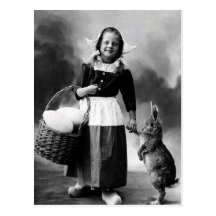 Vintage Easter Photo Girl with Big Bunny Rabbit Post Card