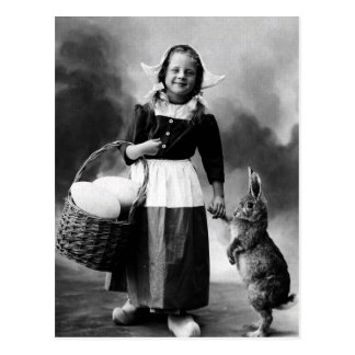 Vintage Easter Photo Girl with Big Bunny Rabbit Postcard