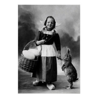 Vintage Easter Photo Girl with Big Bunny Rabbit Poster
