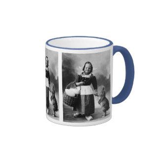 Vintage Easter Photo Girl with Big Bunny Rabbit Ringer Coffee Mug