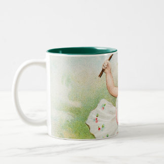Vintage Easter Post Card Victorian Girl Two-Tone Coffee Mug