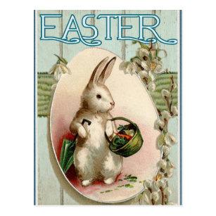 Framed Vintage Post Card Easter Bunny Picture Wall Hanging Oval Embellished Paper Flowers Millinery Cottage Mint Vintage Painted Brass Frame