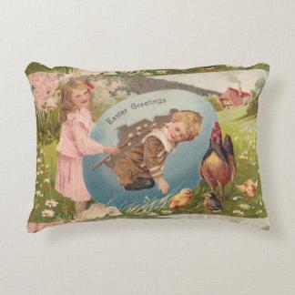 Vintage Easter Postcard Victorian Girl & Boy Decorative Pillow