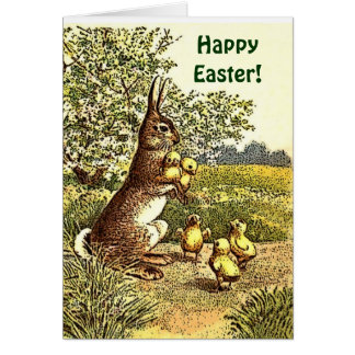 Vintage Easter Rabbit and Chicks Greeting Card