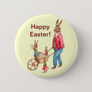 Vintage Easter Rabbit and Family Button