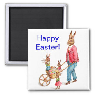 Vintage Easter Rabbit and Family Magnet