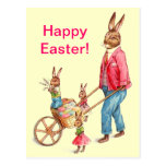 Vintage Easter Rabbit and Family Postcard